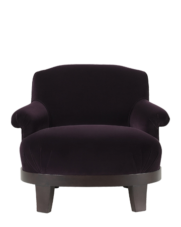 Gacy is a wooden armchair covered in fabric or leather, from Promemoria's catalogue | Promemoria