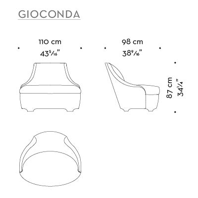 Dimensions of Gioconda, a fabric armchair with leather details, from Promemoria's catalogue | Promemoria