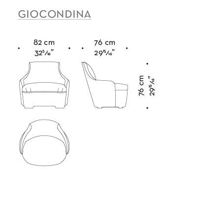 Dimensions of Giocondina, a fabric armchair with leather details, from Promemoria's catalogue | Promemoria
