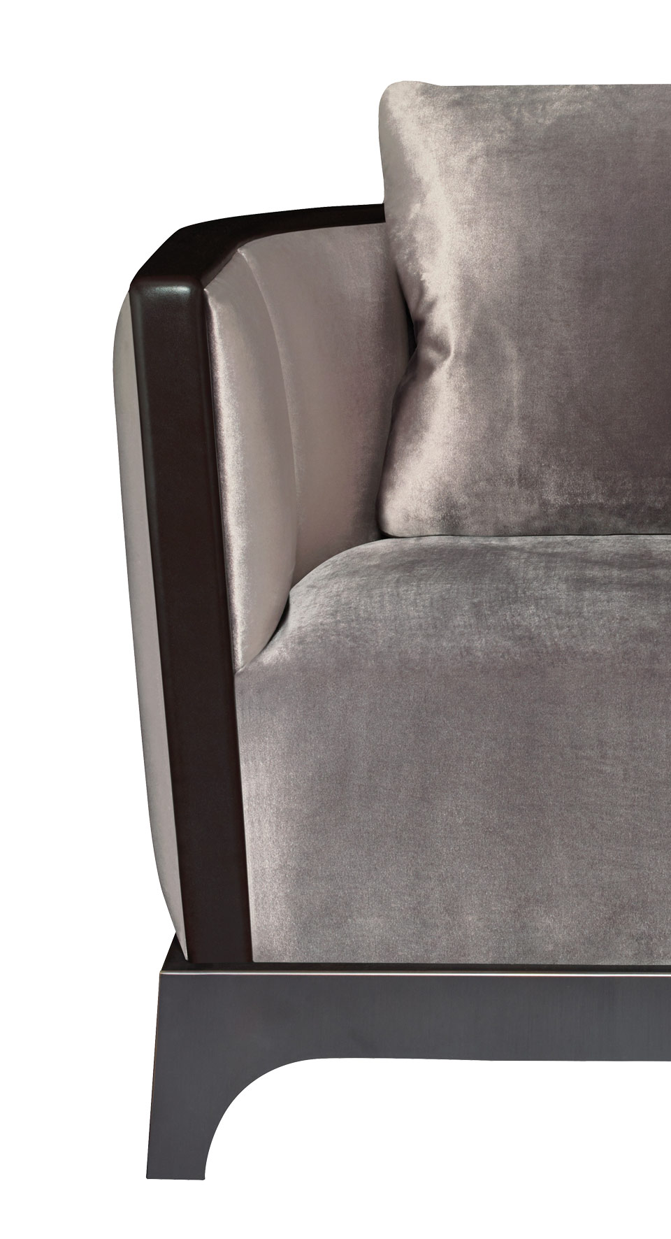 Detail of Grosvenor, a wooden armchair with fabric covering and leather details, from Promemoria's The London Collection | Promemoria