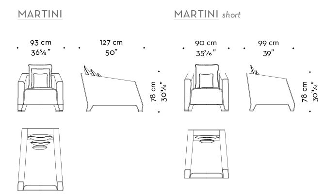 Dimensions of Martini, an armchair covered in fabric or leather with bronze feet, from Promemoria's catalogue | Promemoria