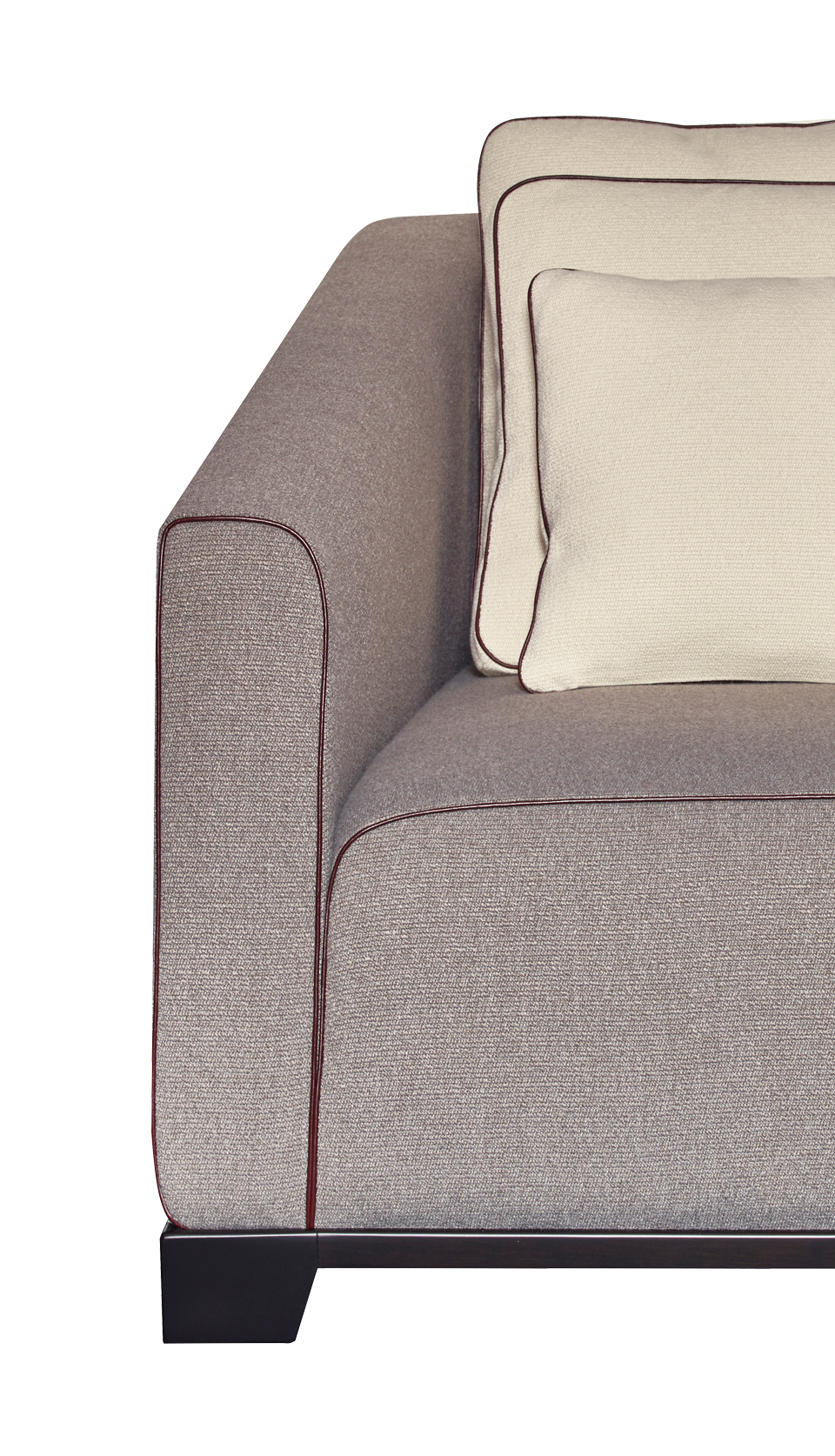 Detail of Martini, an armchair covered in fabric or leather with bronze feet, from Promemoria's catalogue | Promemoria