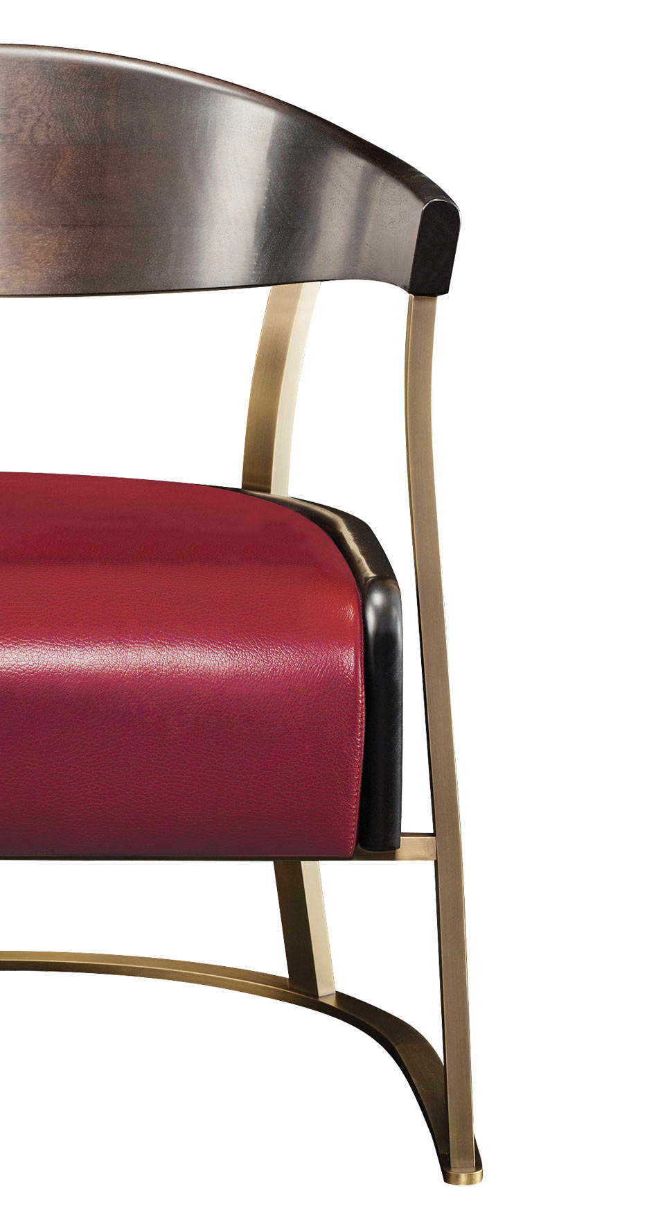 Detail of Rachele, a bronze armchair covered in leather, from Promemoria's catalogue | Promemoria