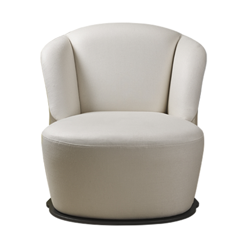 Rosaspina is an armchair with fabric and leather covering and a metal base, from Promeomoria's catalogue | Promemoria