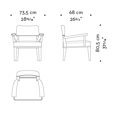 Dimensions of Vespertine, a wooden lounge armchair with leather seat and back, from Prommeoria's catalogue | Promemoria