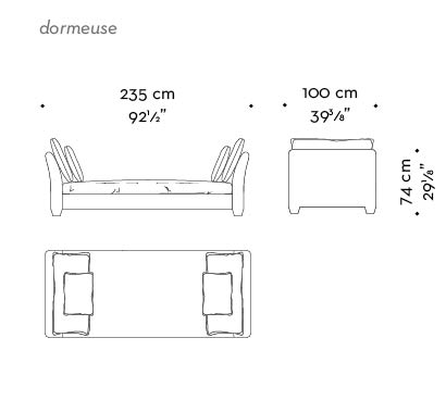 Dimensions of Augusto, a chaise longue covered in fabric with fabric or leather cushions, from Promemoria's catalogue | Promemoria