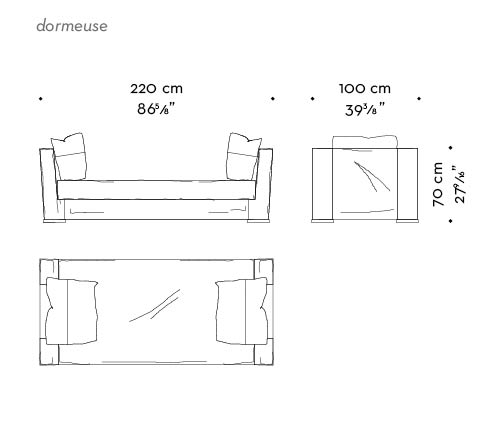 Dimensions of Dolce Vita, a chaise longue covered in fabric with leather details and bronze feet, from Promemoria's catalogue | Promemoria
