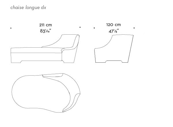 Dimensions of Gioconda, a chaise longue convered in fabric with leather details, from Promemoria's catalogue | Promemoria