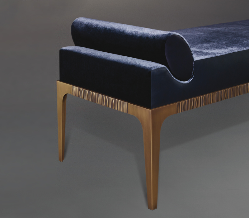 Detail of Montagu, a bronze chaise longue covered in fabric, from Promemoria's The London Collection | Promemoria