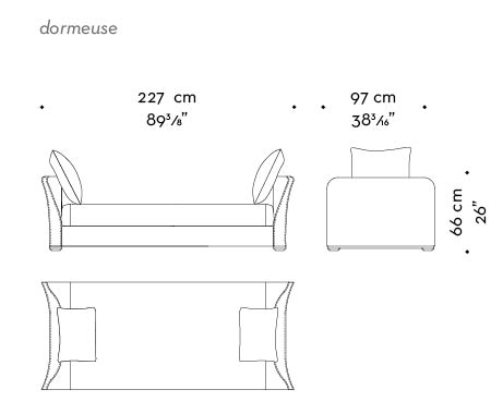 Dimensions of Shangri-la, a wooden chaise longue covered in fabric or leather, from Promemoria's catalogue | Promemoria