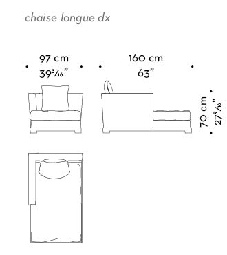 Dimensions of Wanda, a wooden chaise longue covered in fabric, from Promemoria's catalogue | Promemoria