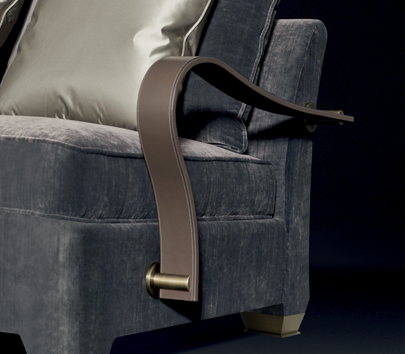 Bronze armrests of Augusto, a modular and customizable sofa, available with leather armrests and bronze feet, from Promemoria catalogue | Promemoria
