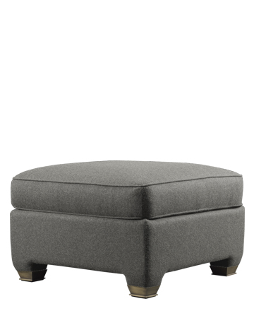 Augusto is a pouf covered in leather or fabric, from Promemoria's catalogue | Promemoria