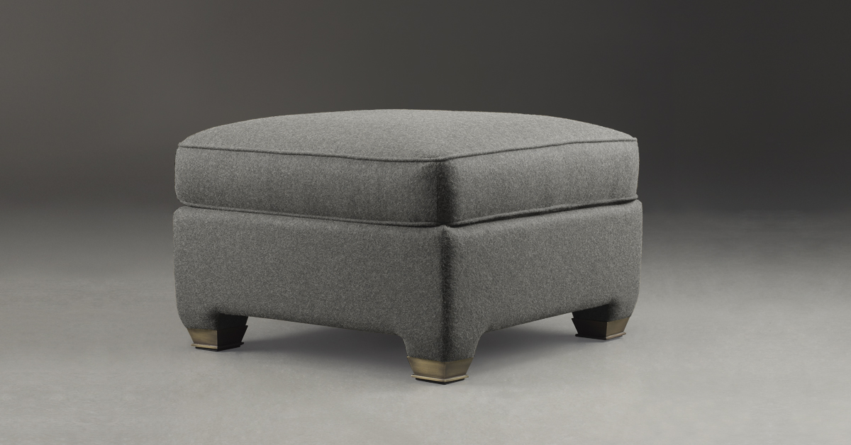 Promemoria Augusto Pouf Covered In Fabric And Leather