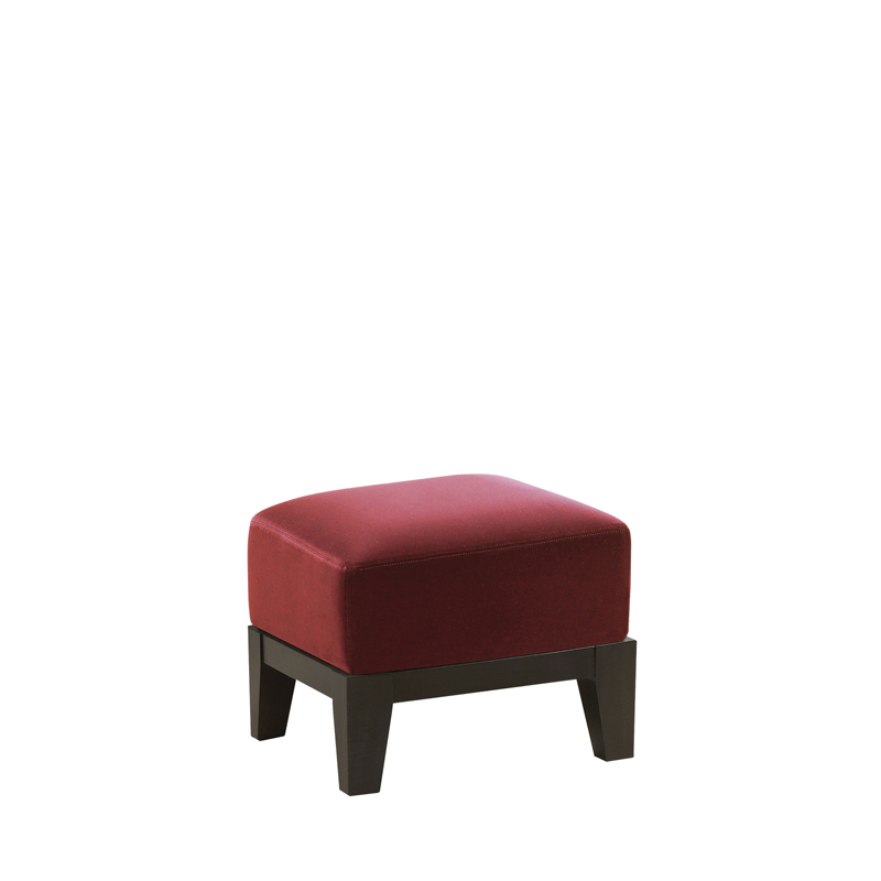 Aziza is a wooden pouf with a cushion covered in fabric or leather, from Promemoria's catalogue | Promemoria