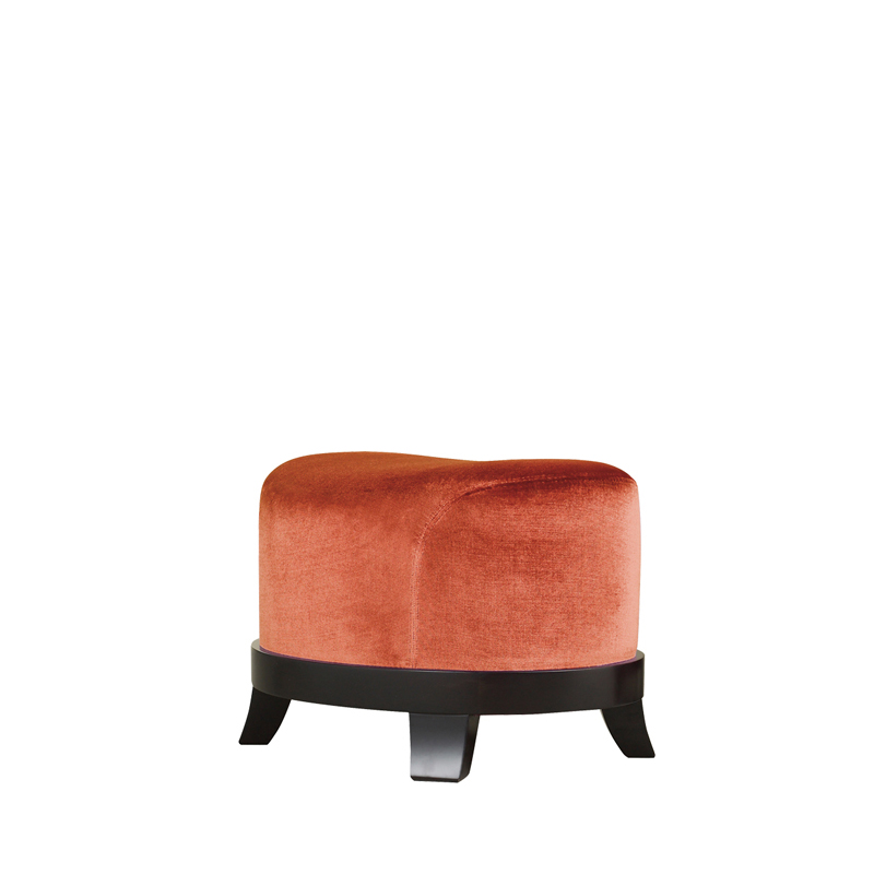 Chelsea is a wooden pouf covered in fabric or leather, from Promemoria's catalogue | Promemoria