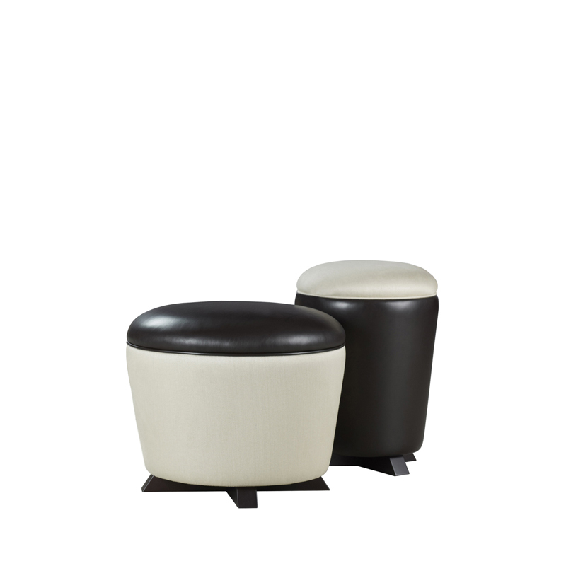Coccolino and Coccolone are two fabric and leather poufs in bright colors, from Promemoria's catalogue | Promemoria