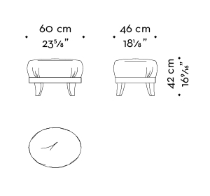 Dimensions of Gacy, a wooden pouf covered in fabric or leather, from Promemoria's catalogue | Promemoria