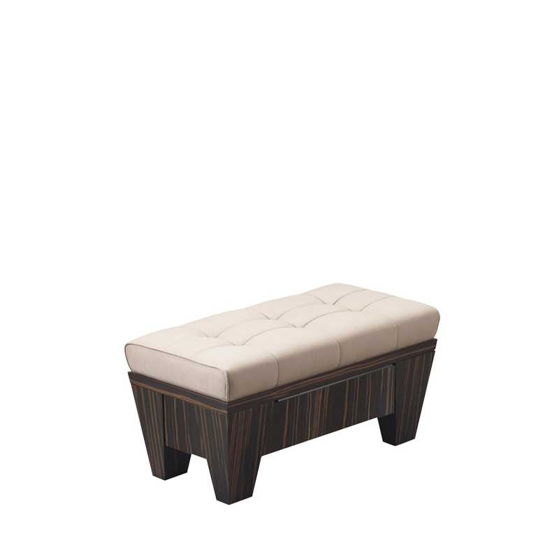 Gertrude is a wooden pouf container covered in capitonnè fabric, from Promemoria's Lake Tales collection | Promemoria