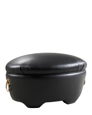 Gioconda is a pouf covered in fabric or leather with bronze handles, from Promemoria's catalogue | Promemoria