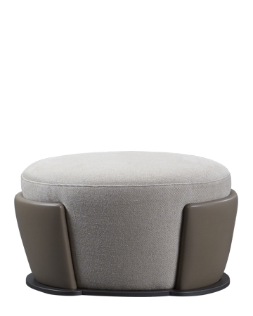 Rosaspina is a pouf covered in fabric and leather and a metal base, from Promemoria's catalogue | Promemoria