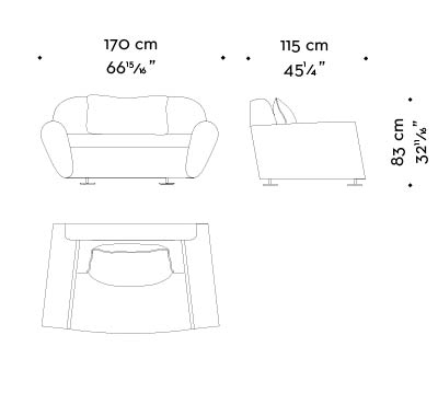 Dimensions of Artù, a sofa covered in fabric with bronze feet, from Promemoria's catalogue | Promemoria