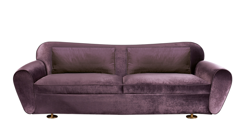 Artù is a sofa covered in fabric with bronze feet, from Promemoria's catalogue | Promemoria