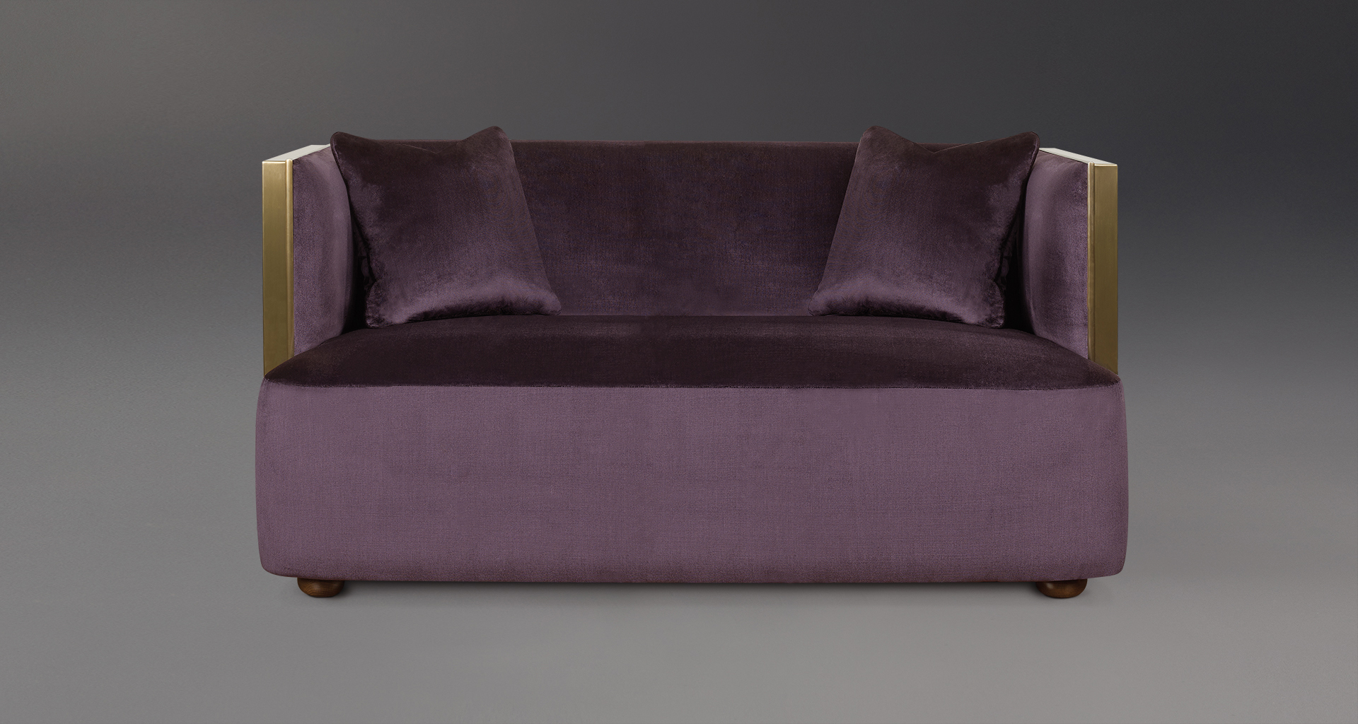 Boccaccio is a bronze sofa covered in fabric, from Promemoria's catalogue | Promemoria