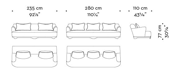 Dimensions of Dorian, a wooden sofa covered in fabric or leather that can be customized in size and shape, from Promemoria's catalogue | Promemoria