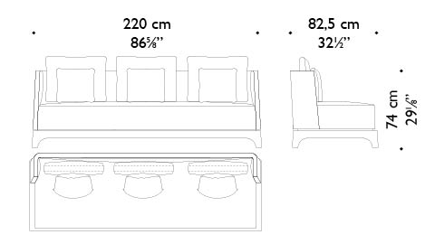 Dimensions of Eaton, a sofa with a wooden or bronze base covered in fabric, from Promemoria's The London Collection | Promemoria
