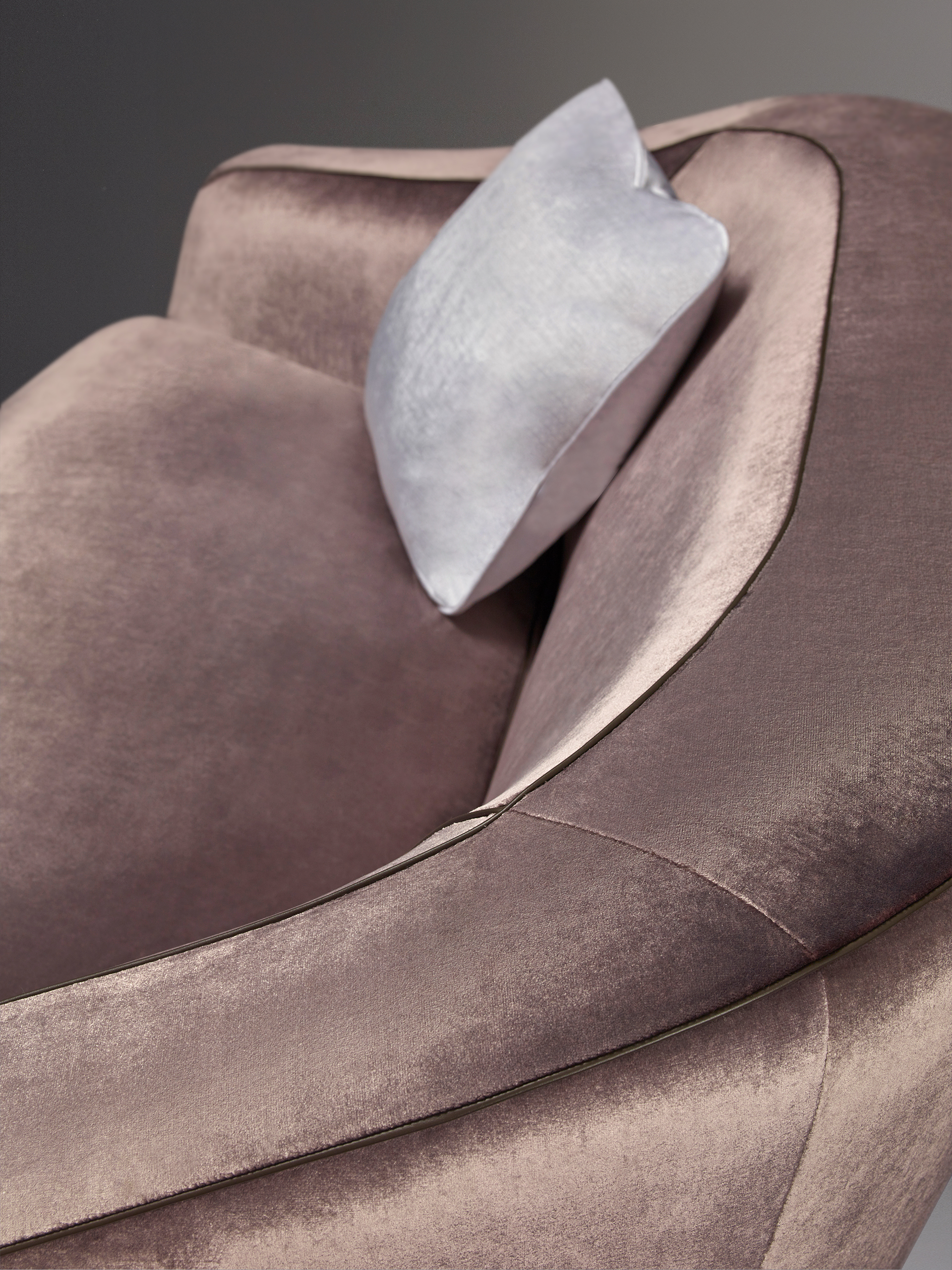 Cushion detail of Fiore di Loto, a sofa covered in fabric or leather, from Promemoria's catalogue | Promemoria