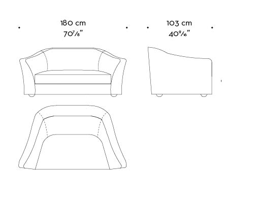 Dimensions of Fiore di Loto, a sofa covered in fabric or leather, from Promemoria's catalogue | Promemoria