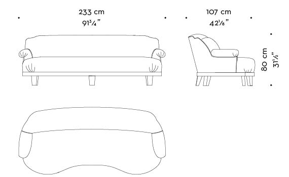 Dimensions of Gacy, a wooden sofa covered in fabric or leather, from Promemoria's catalogue | Promemoria