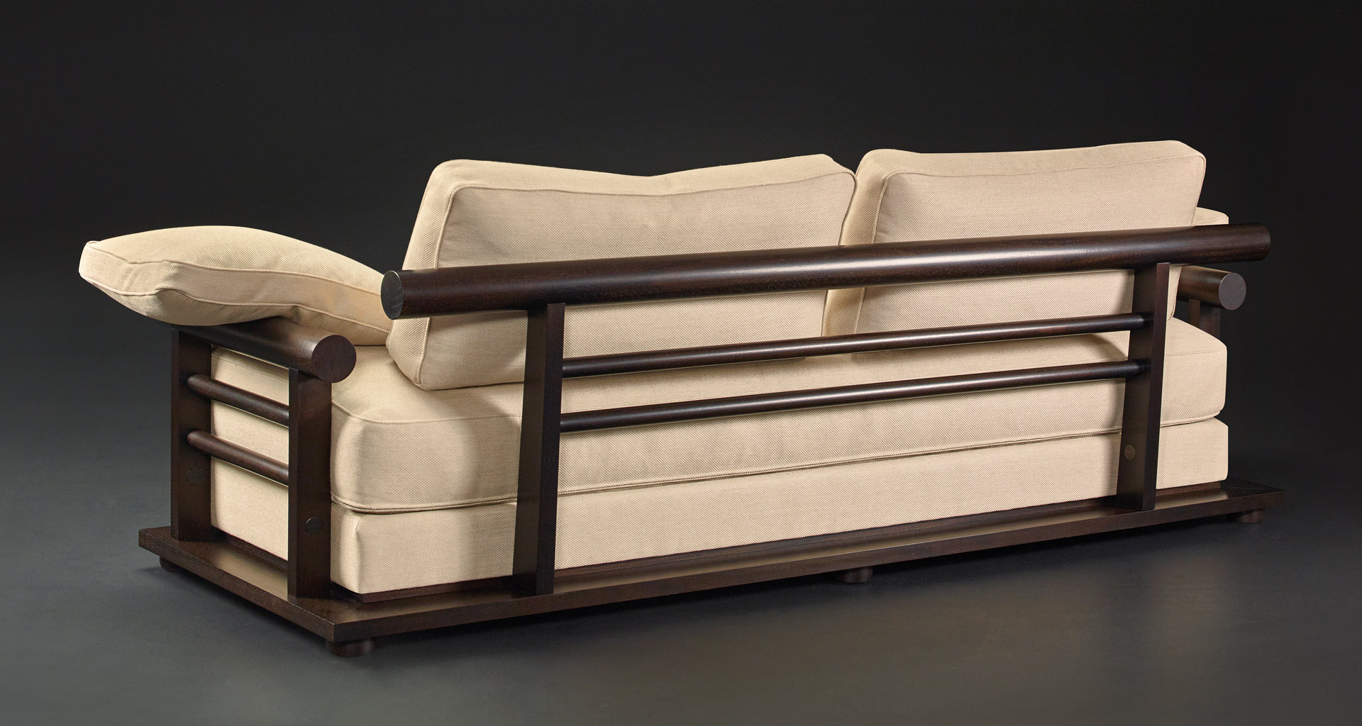 Wooden structure detail Nocturne, a sofa covered in fabric or leather, from Promemoria's Night Tales collection | Promemoria
