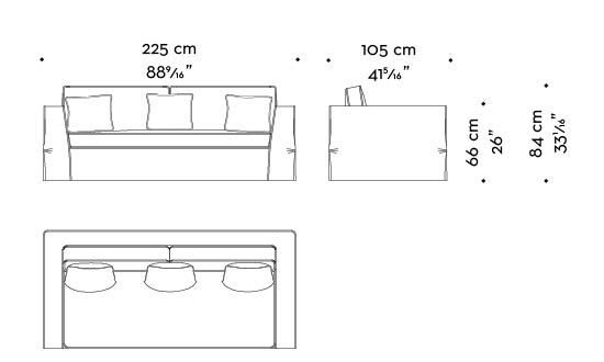 Dimensions of Oscar, a sofa completely covered in removable fabric, from Promemoria's catalogue | Promemoria