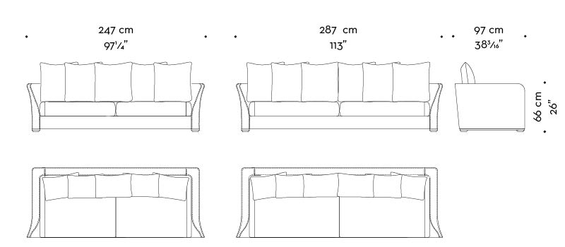 Dimensions of Shangri-la, a wooden sofa covered in leather and fabric, from Promemoria's catalogue | Promemoria