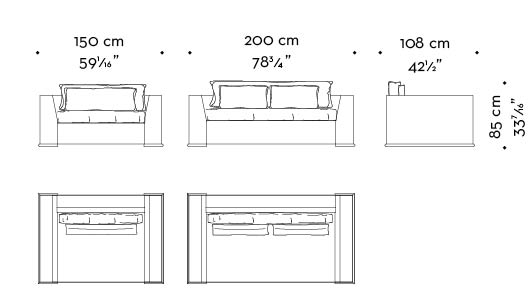 Dimensions of Ulderico, a wooden sofa covered in fabric or leather, from Promemoria's catalogue | Promemoria