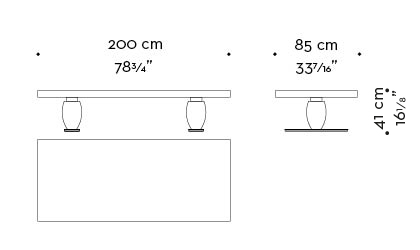 Dimensions of rectangular Bassano, a bronze coffee table, covered in leather or inlaid top, from Promemoria's catalogue | Promemoria