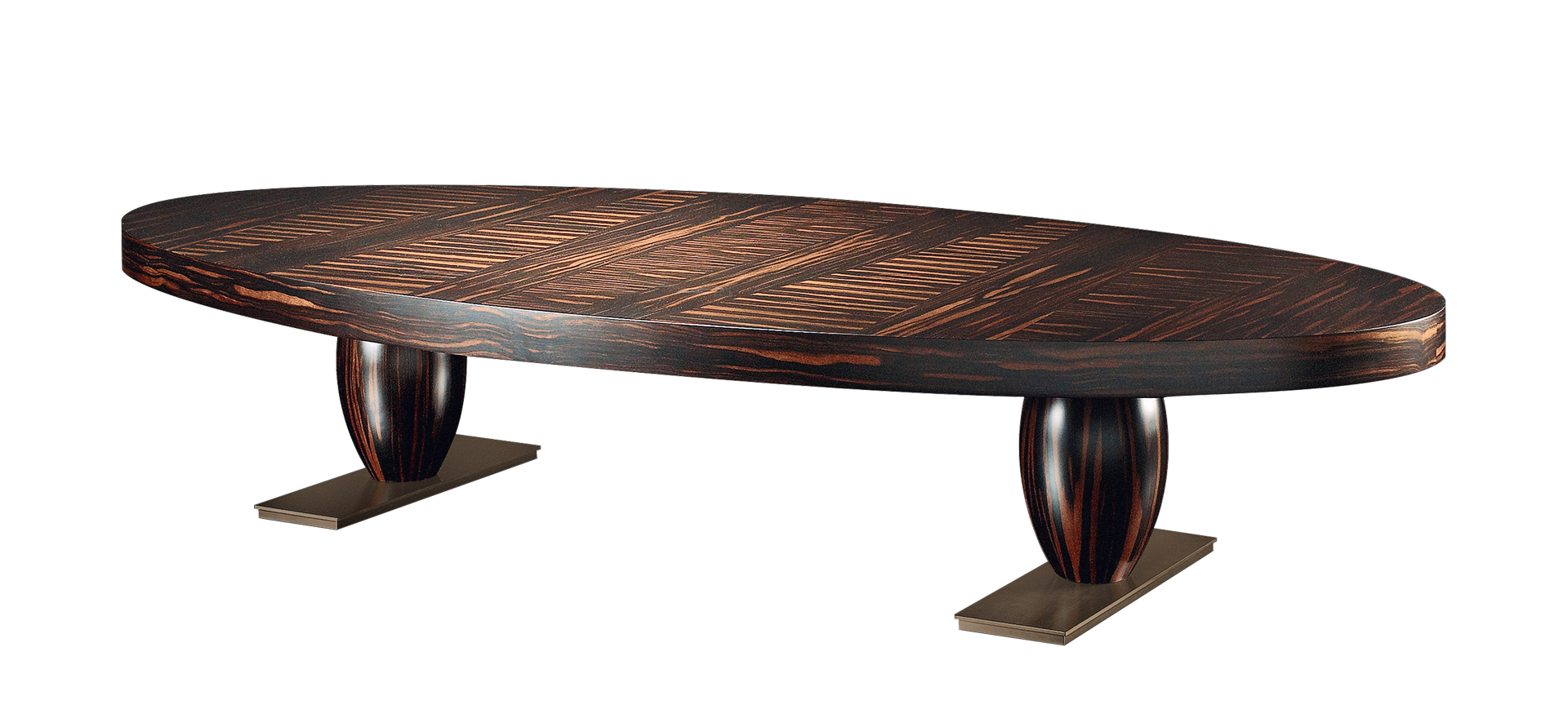 Bassano is an elliptical or rectangular bronze coffee table, covered in leather or inlaid top, from Promemoria's catalogue | Promemoria
