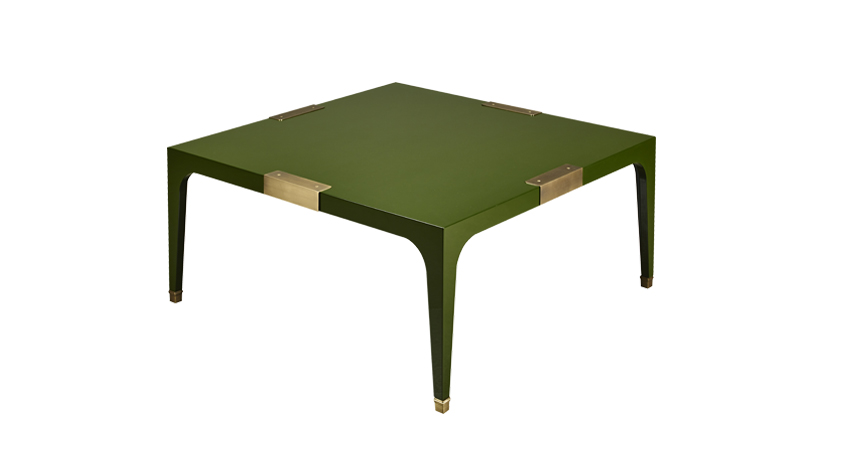 DC Table is a semi-gloss coffee table with bronze feet and details, from Promemoria's The London Collection | Promemoria