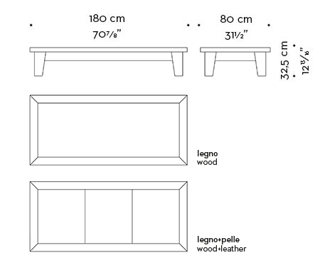 Dimensions of rectangular Eduardo, a wooden coffee table from Promemoria's catalogue | Promemoria