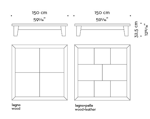 Dimensions of square Eduardo, a wooden coffee table from Promemoria's catalogue | Promemoria