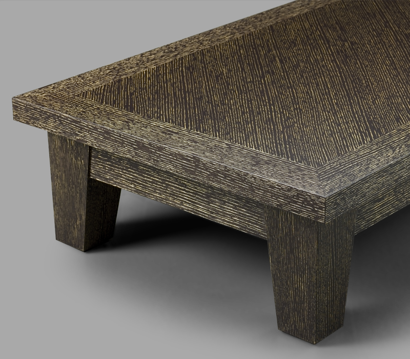 Detail of Eduardo, a square or rectangular wooden coffee table from Promemoria's catalogue | Promemoria