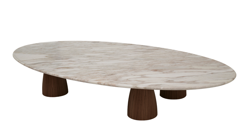 Lunique is a coffee table with wooden legs and marble top, from Promemoria's Amaranthine Tales collection | Promemoria
