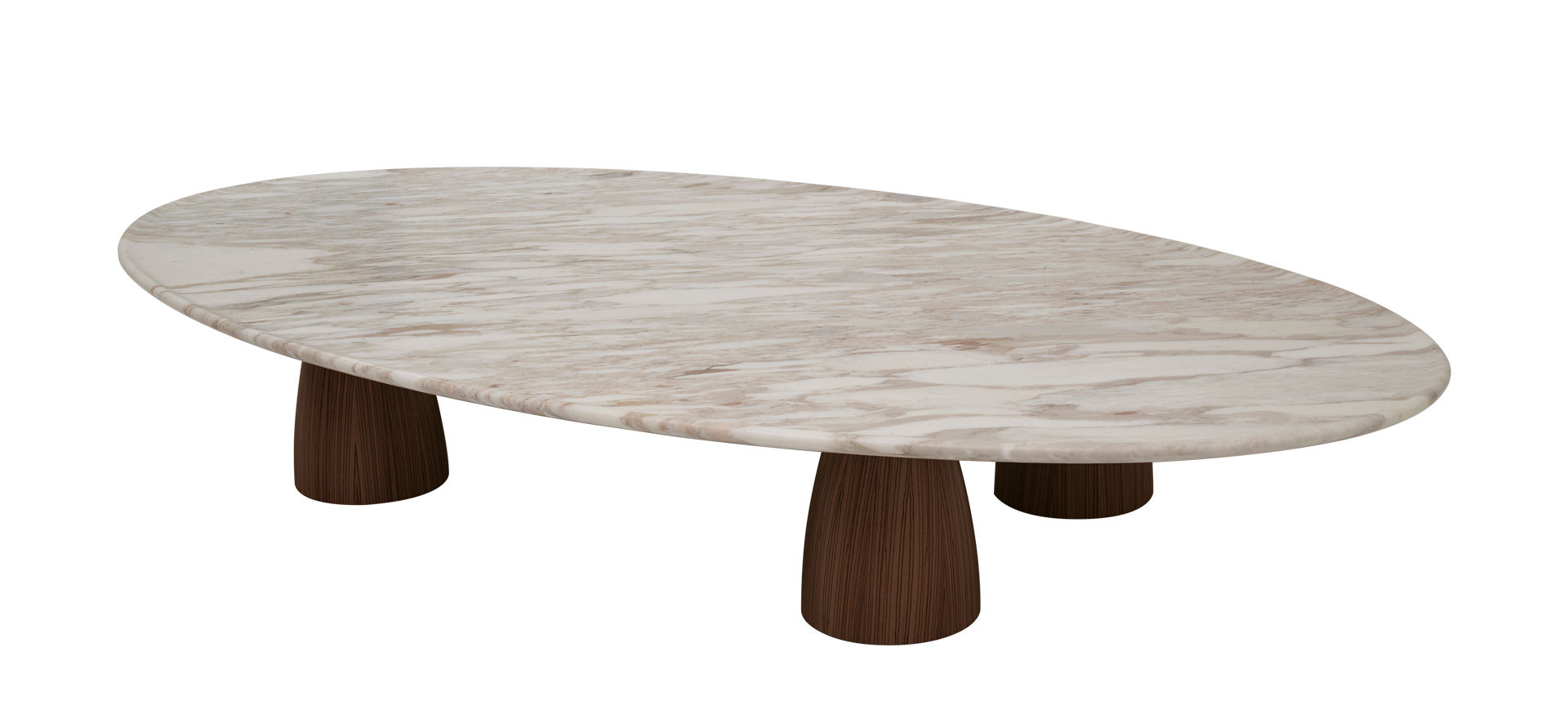 Promemoria  Lunique: Coffee Table in Wood and Calacatta Gold Marble