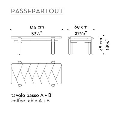 Dimensions of Passepartout, two wooden coffee tables with wheels and bronze decoration, from Promemoria's catalogue | Promemoria