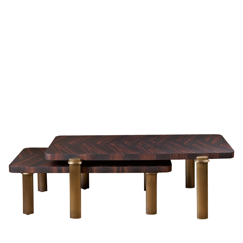 Passepartout are two wooden coffee tables with wheels and bronze decoration, from Promemoria's catalogue | Promemoria
