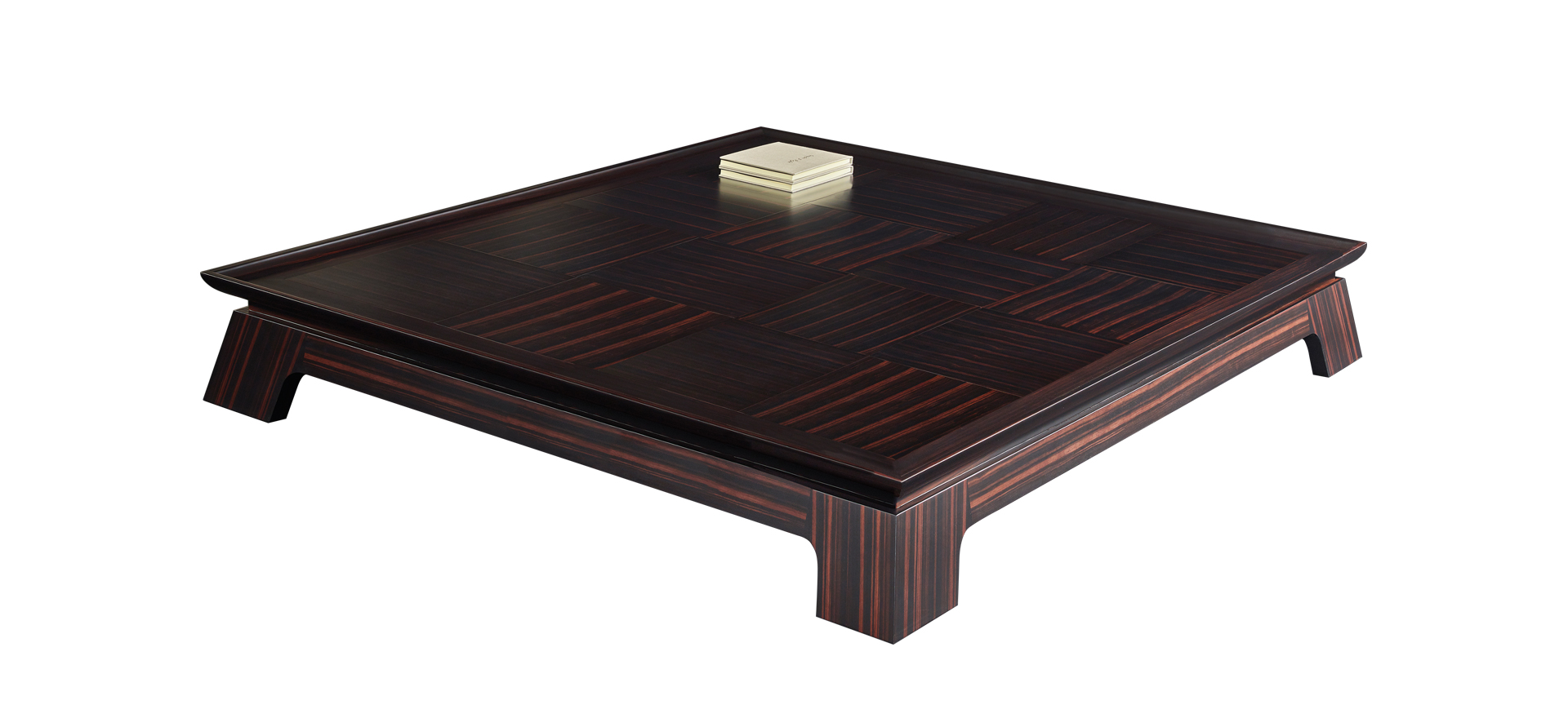 Plenilune is an impressive wooden coffee table available with leather, bronze or marble top interior, from Promemoria's catalogue | Promemoria