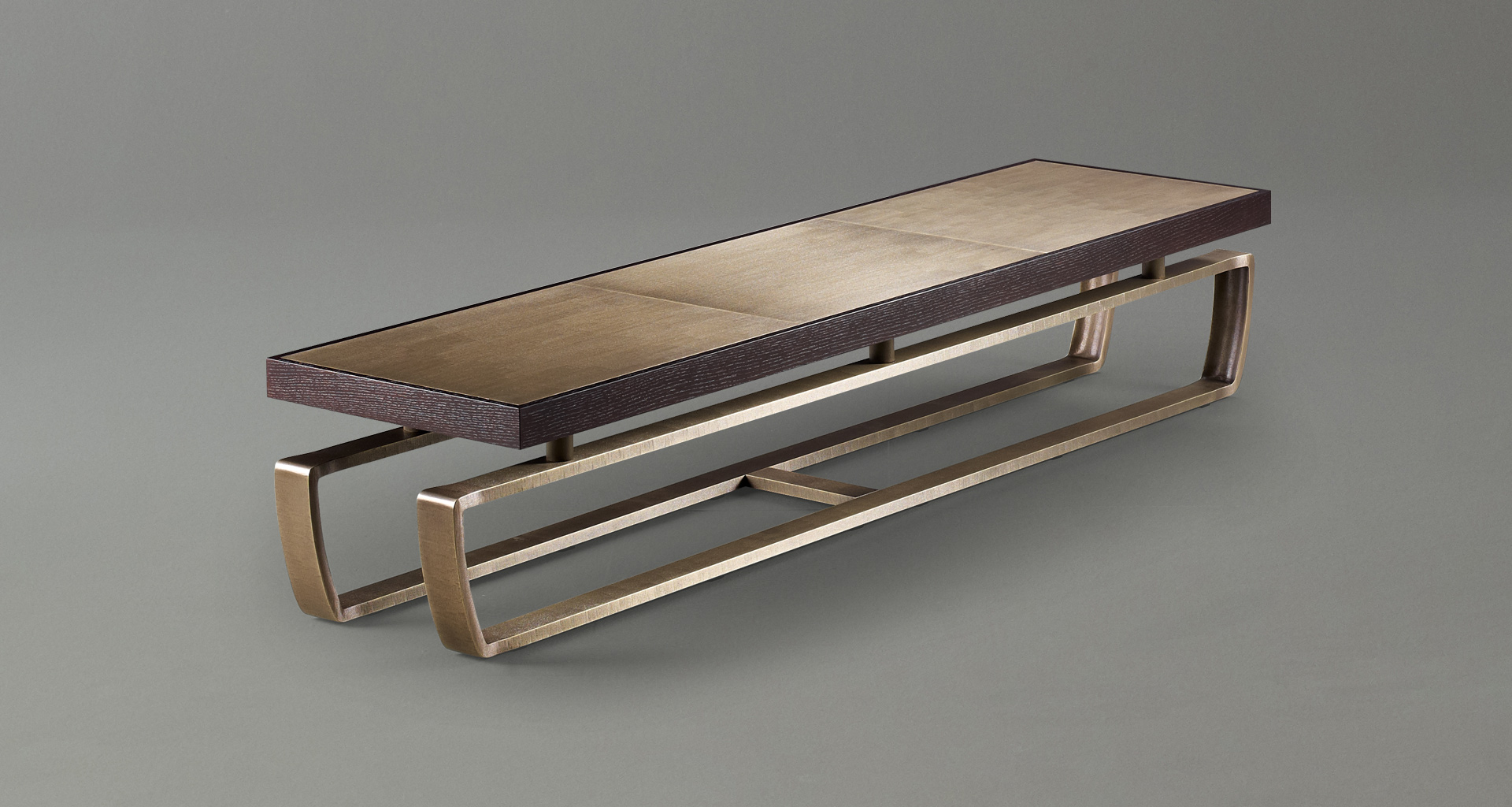 Saint Moritz is a coffee table with wooden top and bronze base, from Promemoria's catalogue | Promemoria