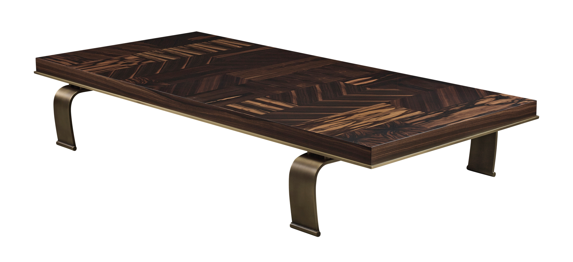 Sumo is an oval or rectangular coffee table with wooden top and bronze legs, from Promemoria's Sun Tales collection | Promemoria